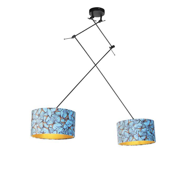 Hanglamp-met-velours-kappen-vlinders-met-goud-35-cm---Blitz-II-zwart