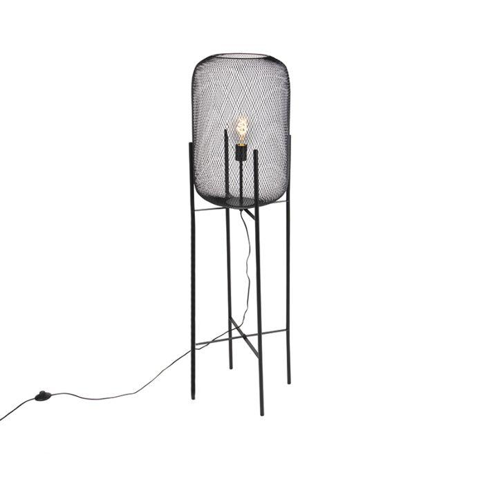 Moderne-zwarte-vloerlamp---Bliss-Mesh