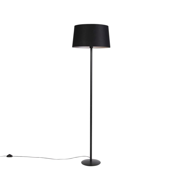Zwarte-vloerlamp-met-linnen-kap-zwart-45-cm---Simplo