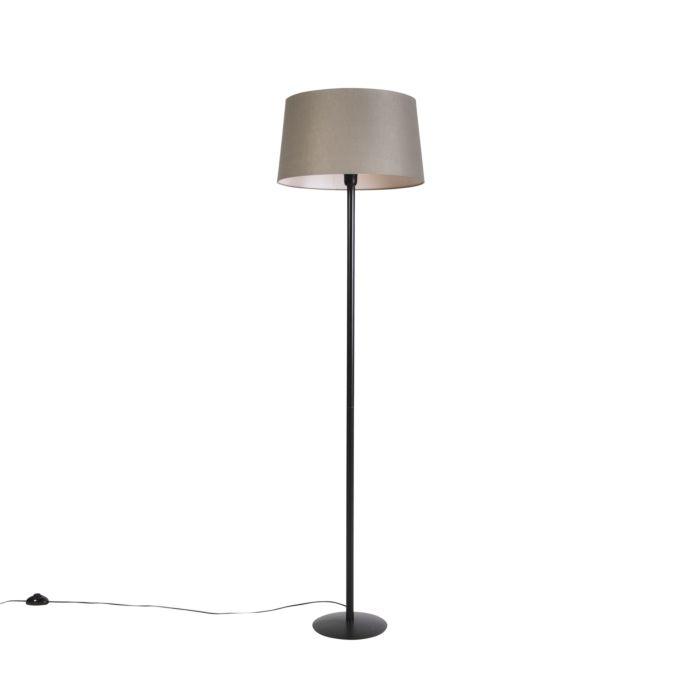 Zwarte-vloerlamp-met-linnen-kap-taupe-45-cm---Simplo