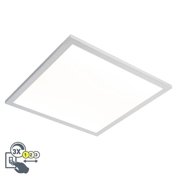 Vierkante-plafondlamp-chroom-45-cm-incl.-LED-IP44---Flat