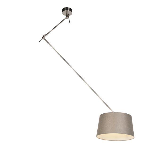 Hanglamp-met-linnen-kap-taupe-35-cm---Blitz-I-staal