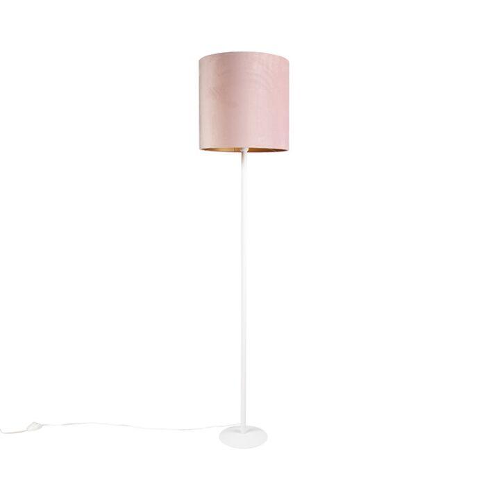 Vintage-vloerlamp-wit-met-oud-roze-kap-40cm---Simplo