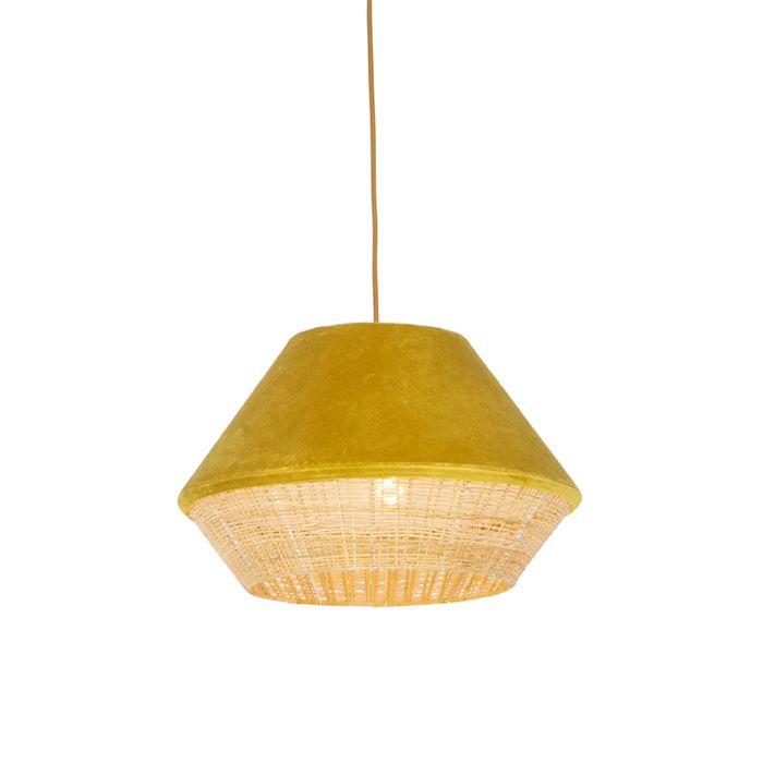Landelijke-hanglamp-gele-velours-met-riet-45-cm---Frills-Can