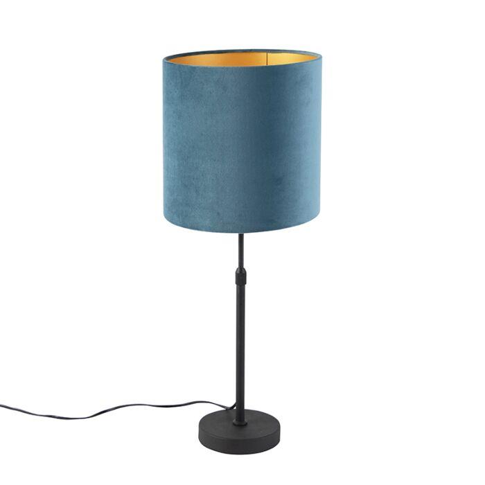 Tafellamp-zwart-met-velours-kap-blauw-met-goud-25-cm---Parte