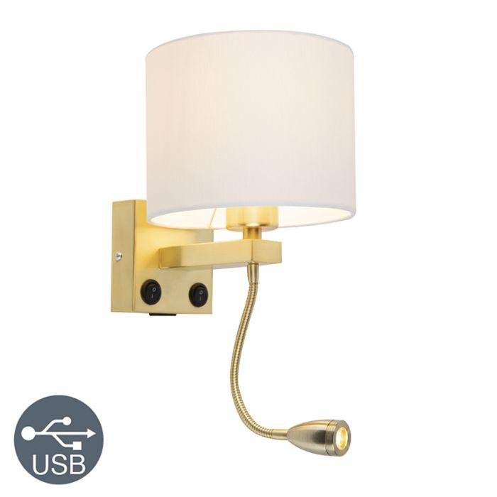 Gouden-wandlamp-USB-met-witte-kap---Brescia-Combi