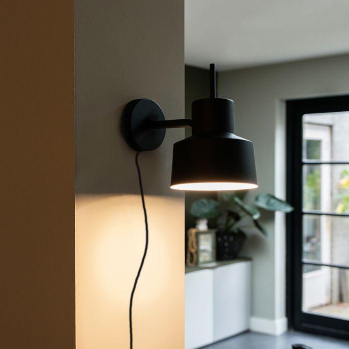 Retro-wandlamp-zwart---Chappie