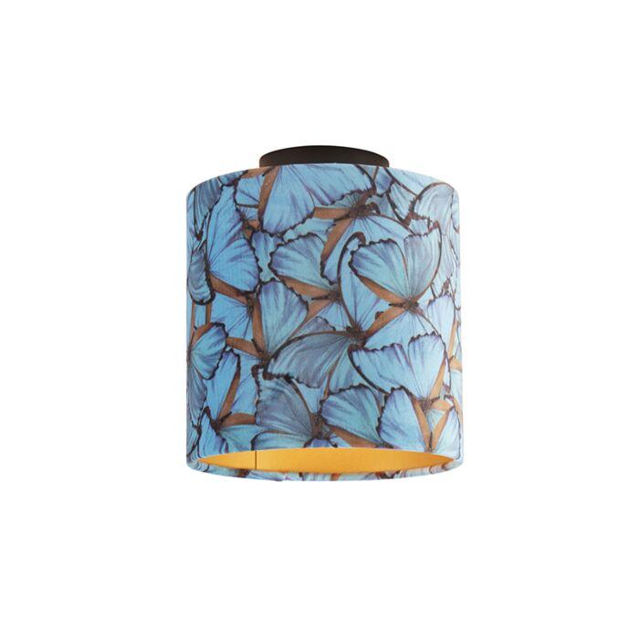 Plafondlamp-met-velours-kap-vlinders-met-goud-20-cm---Combi-zwart