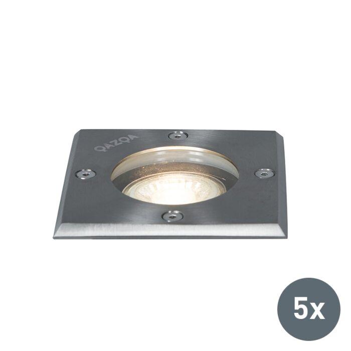 Set-van-5-Grondspots-staal-IP65---Basic-Square