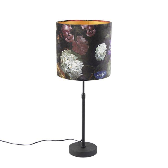 Tafellamp-zwart-met-velours-kap-bloemen-met-goud-25-cm---Parte