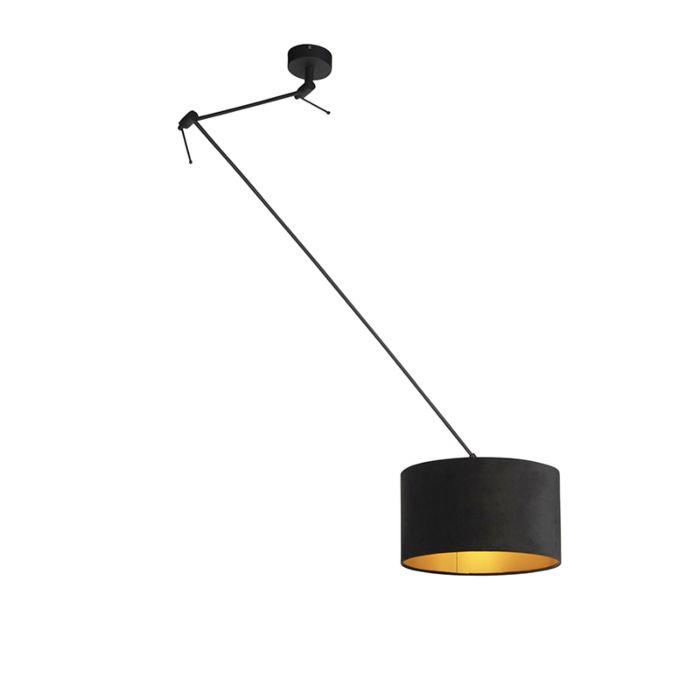 Hanglamp-met-velours-kap-zwart-met-goud-35-cm---Blitz-I-zwart