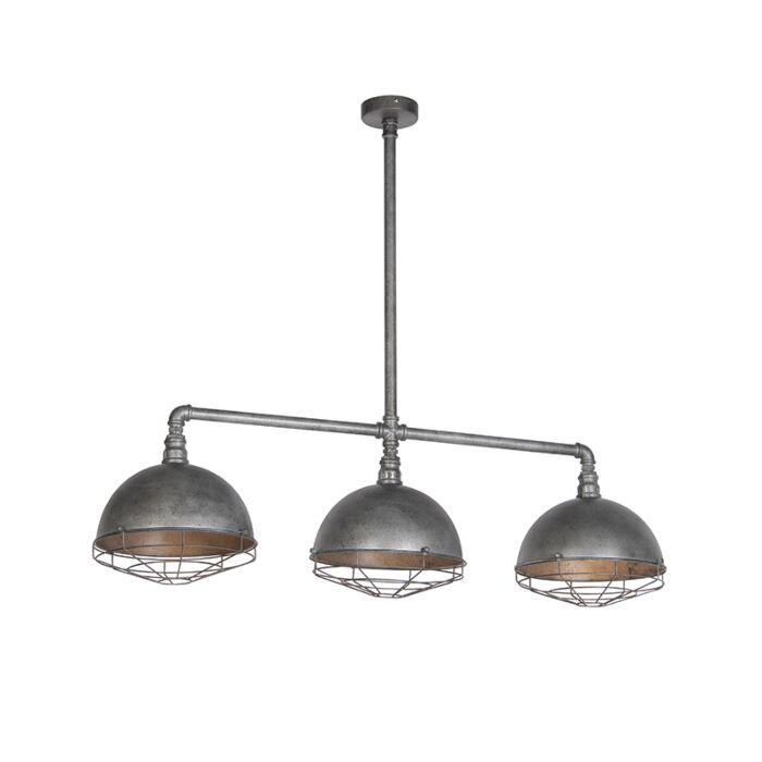Industriële-hanglamp-antiek-zilver-3-lichts---Course