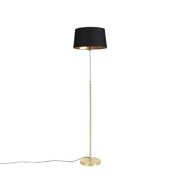 Vloerlamp-goud/messing-met-zwarte-kap-45-cm-verstelbaar---Parte