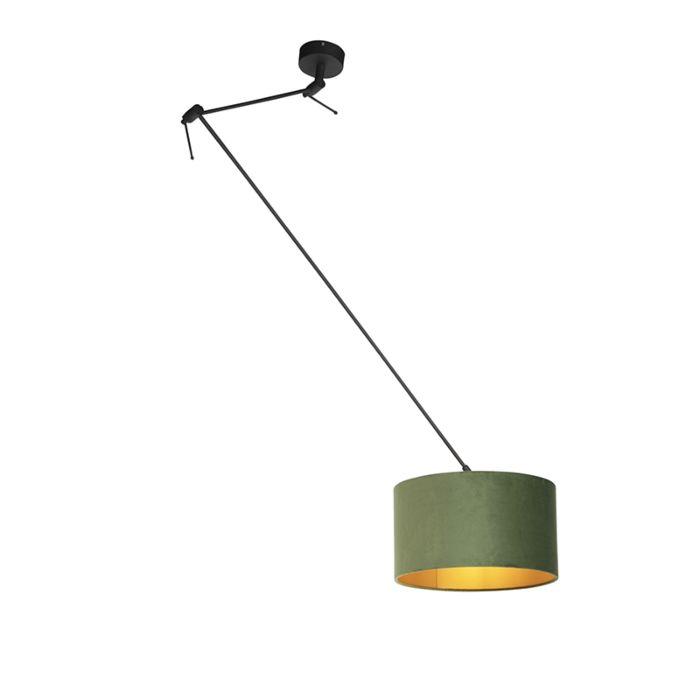 Hanglamp-met-velours-kap-groen-met-goud-35-cm---Blitz-I-zwart