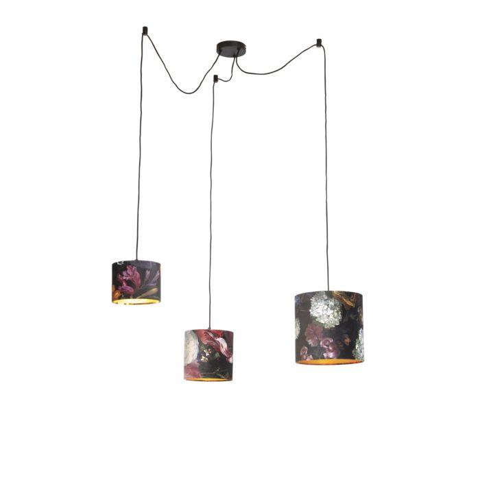 Hanglamp-met-3-velours-kappen-bloemen-met-goud---Cava