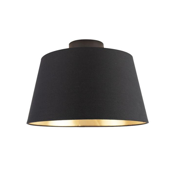 Plafondlamp-met-katoenen-kap-zwart-met-goud-32-cm---Combi-zwart