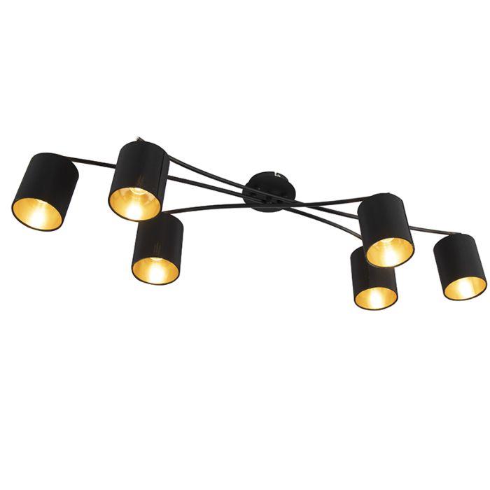 Moderne-plafondlamp-zwart-6-lichts---Lofty