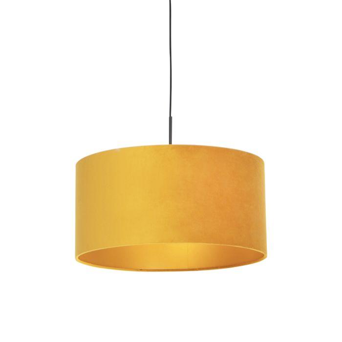 Zwarte-hanglamp-met-velours-kap-geel-met-goud-50-cm---Combi
