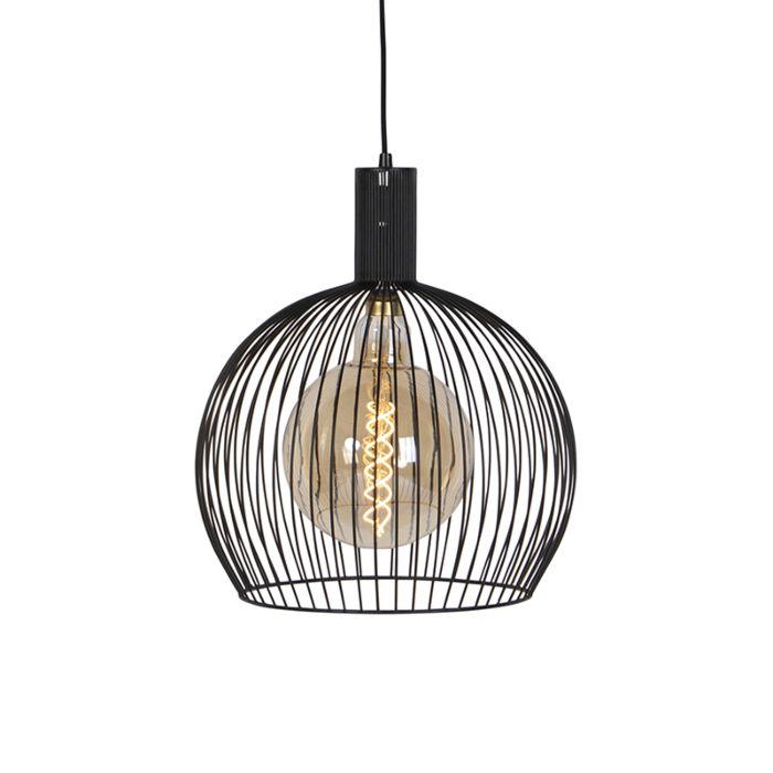 Moderne-ronde-hanglamp-zwart-40-cm---Wire