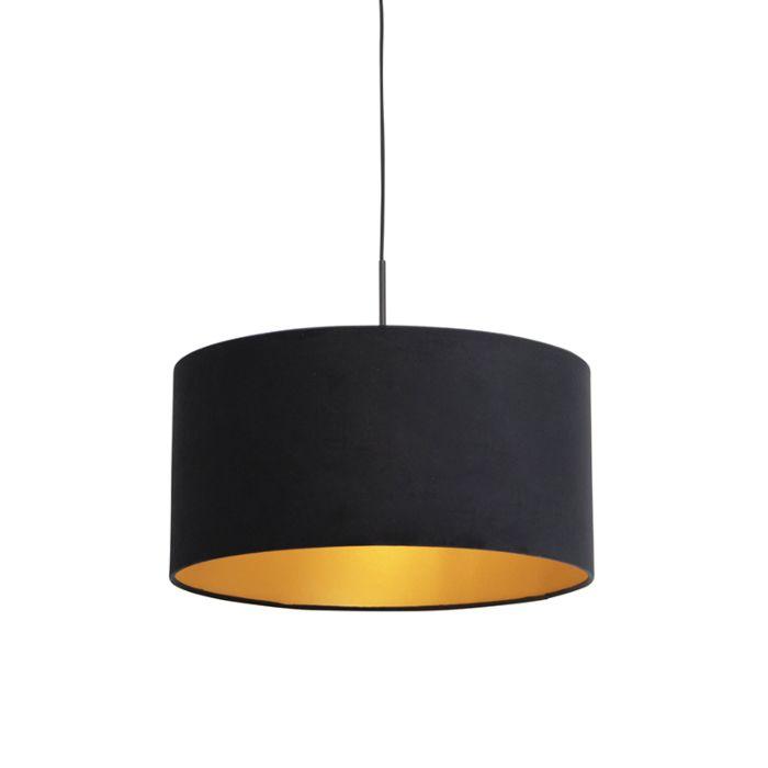 Hanglamp-met-velours-kap-zwart-met-goud-50-cm---Combi