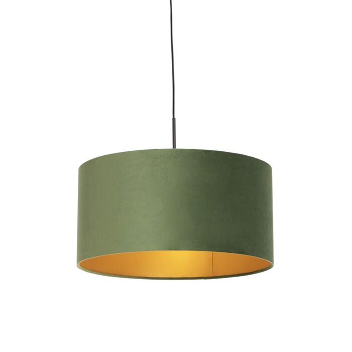 Hanglamp-met-velours-kap-groen-met-goud-50-cm---Combi