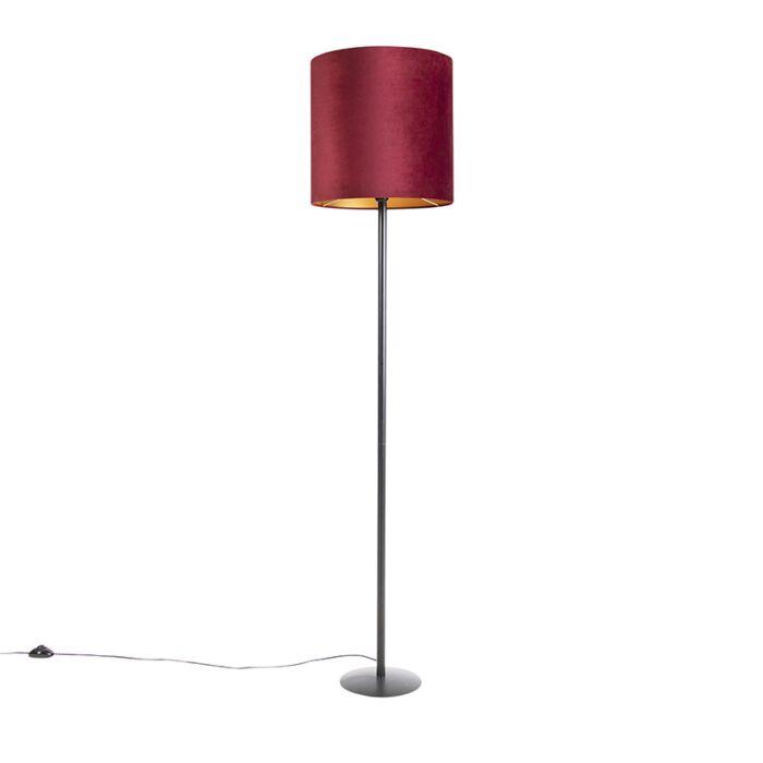 Zwarte-vloerlamp-met-velours-kap-rood-met-goud-40-cm---Simplo