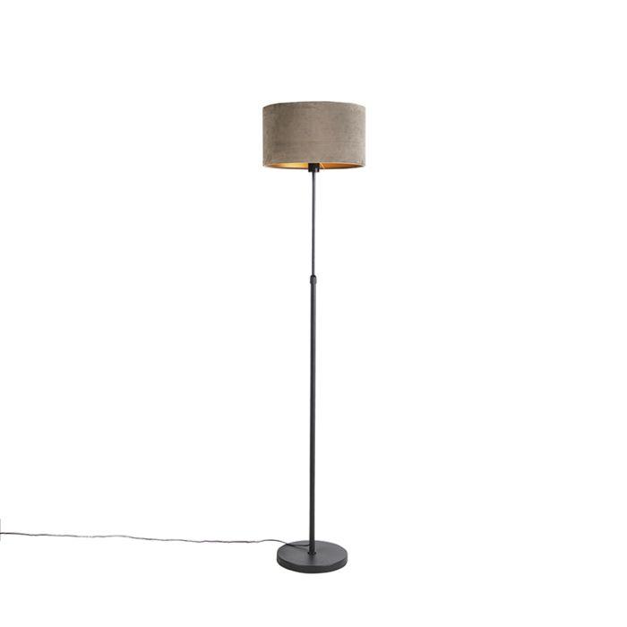 Vloerlamp-zwart-met-velours-kap-taupe-met-goud-35-cm---Parte