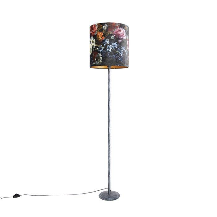 Vintage-vloerlamp-antiek-grijs-met-bloemen---gouden-kap-40cm---Simplo
