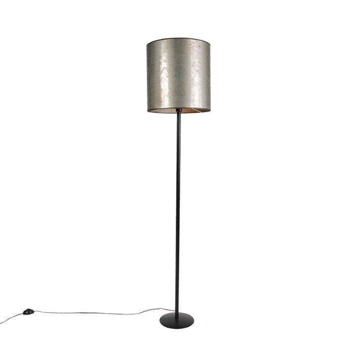 Zwarte-vloerlamp-met-taupe-kap-40cm---Simplo