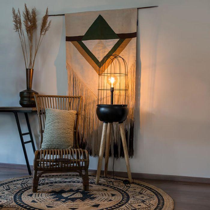 Moderne-vloerlamp-zwart-op-houten-driepoot---Birds