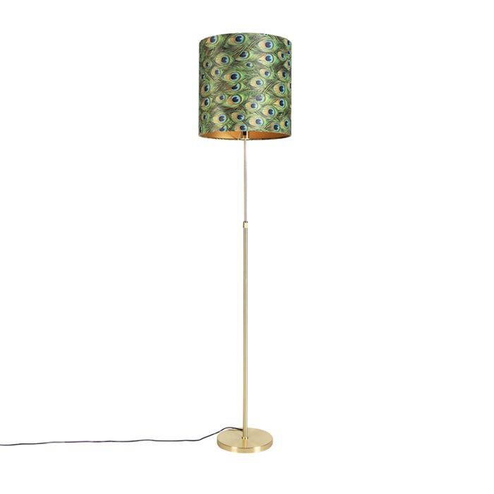 Vloerlamp-goud/messing-met-velours-kap-pauw-40/40-cm---Parte