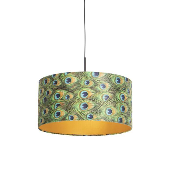 Hanglamp-met-velours-kap-pauw-met-goud-50-cm---Combi