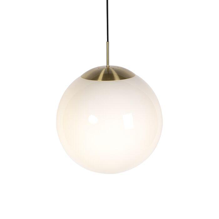 Moderne-hanglamp-goud-met-opaal-glas---Ball-40