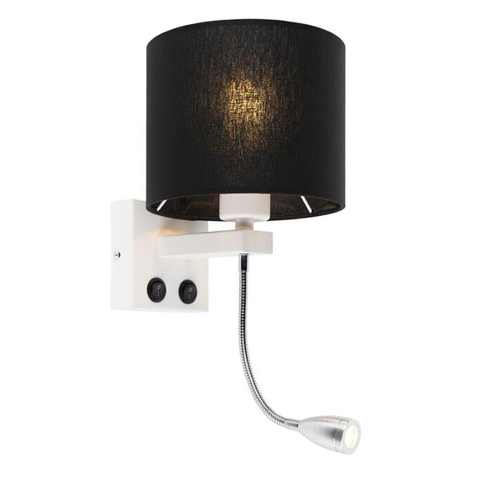 Moderne-wandlamp-wit-met-zwarte-kap---Brescia
