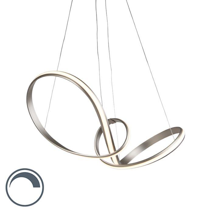 Moderne-hanglamp-staal-80-cm-incl.-LED-en-dimmer---Belinda