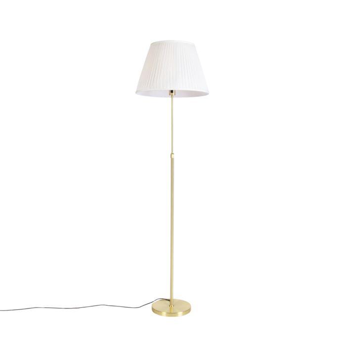 Vloerlamp-goud/messing-met-plisse-kap-crème-45-cm---Parte