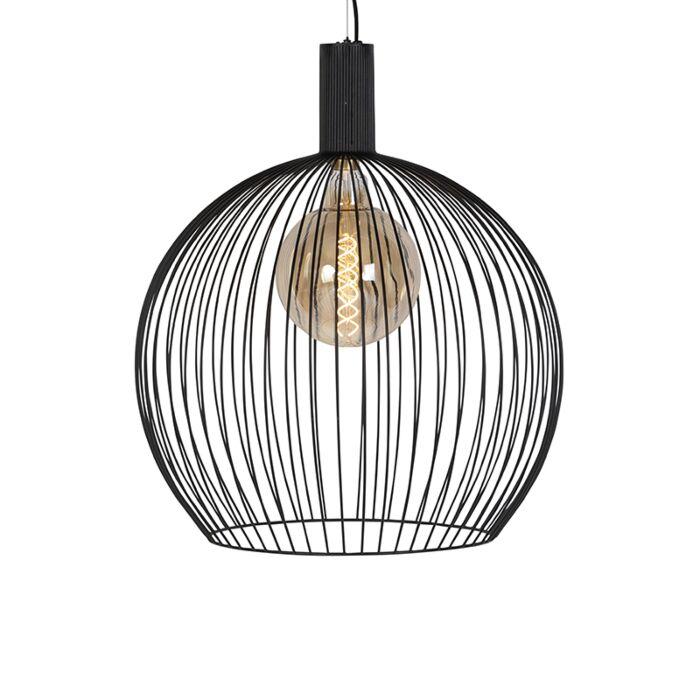 Moderne-ronde-hanglamp-zwart-60-cm---Wire