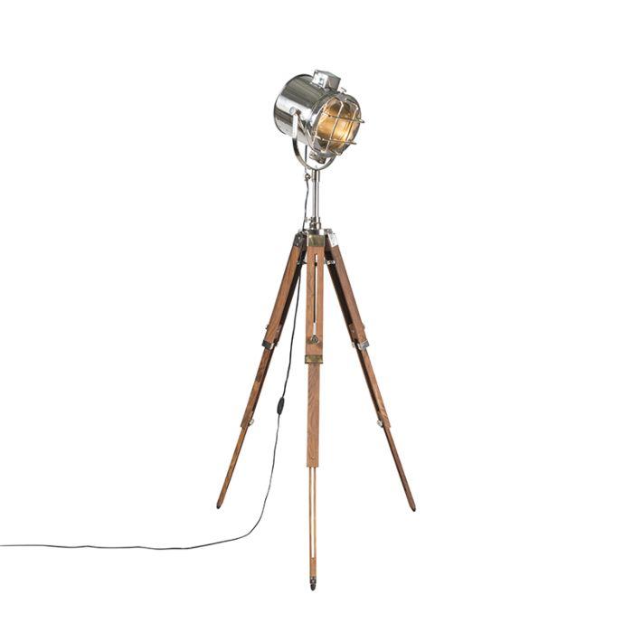Vloerlamp-met-houten-driepoot-en-studiospot---Tripod-Shiny