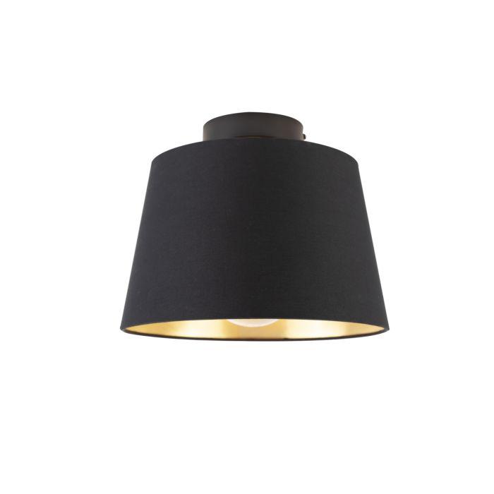Plafondlamp-met-katoenen-kap-zwart-met-goud-25-cm---Combi-zwart