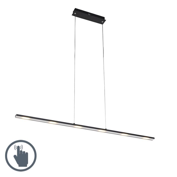 Design-hanglamp-zwart-incl.-LED-met-touchdimmer---Platina