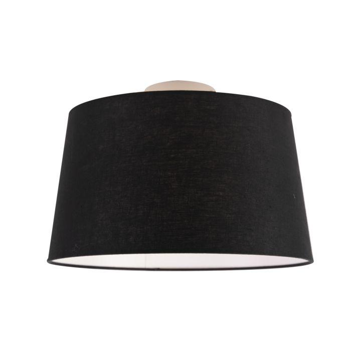 Moderne-plafondlamp-wit-met-zwarte-kap-35-cm---Combi