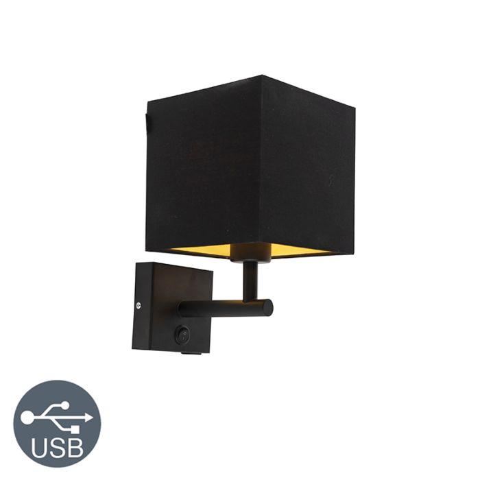 Wandlamp-zwart-met-USB-en-kap-16cm-zwart---Zeno