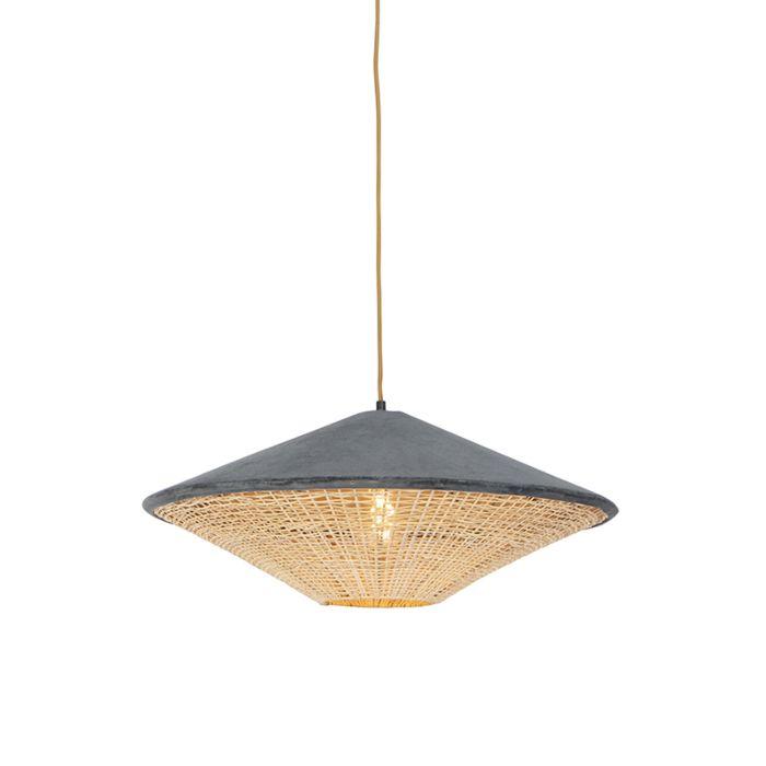 Landelijke-hanglamp-grijze-velours-met-riet-60-cm---Frills-Can