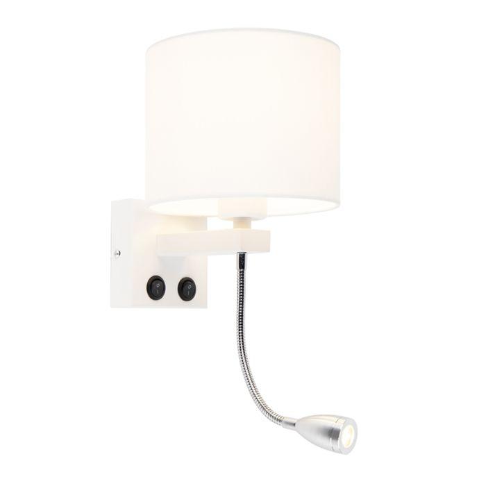 Moderne-wandlamp-wit-met-witte-kap---Brescia