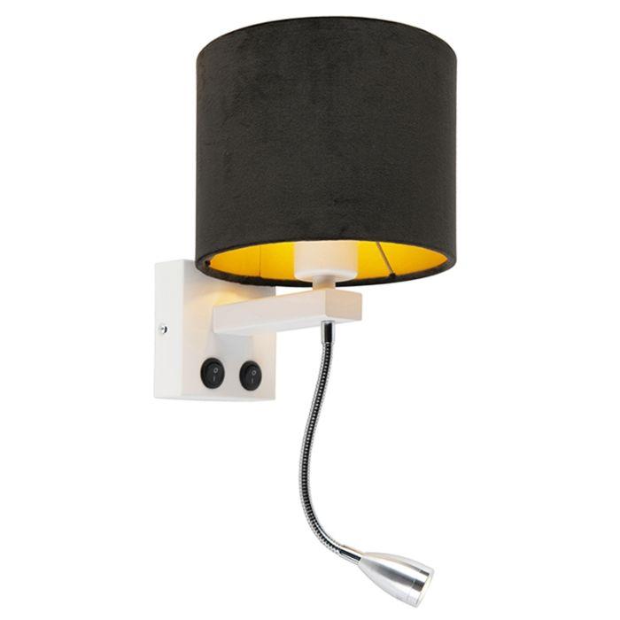 Moderne-wandlamp-wit-met-kap-velours-zwart---Brescia