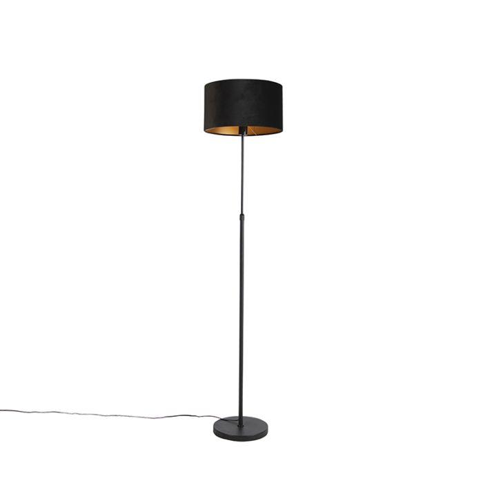 Vloerlamp-zwart-met-velours-kap-zwart-met-goud-35-cm---Parte