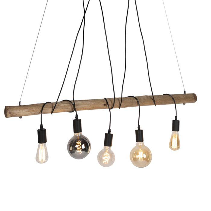 Landelijke-hanglamp-hout-met-zwart-5-lichts---Dami