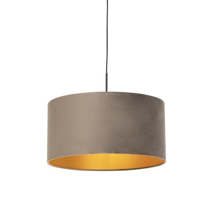 Hanglamp-met-velours-kap-taupe-met-goud-50-cm---Combi
