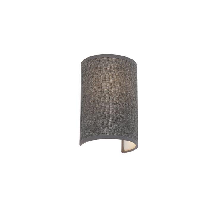 Moderne-wandlamp-grijs---Simple-Drum-Jute