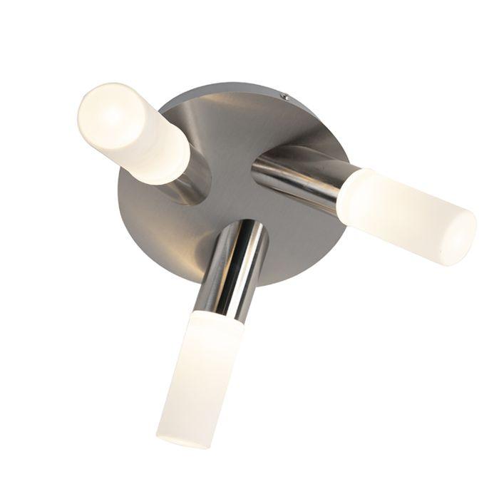 Moderne-badkamerplafondlamp-staal-3-lichts-incl.-LED---Dilan